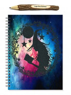 This is a 100 sheet (200 page) spiral bound notebook featuring a print of my original witch papercut.  The back of the book features our printed business logo.  A5 measures 5.8 x 8.3 inches and has a spiral binding.  The pages are blank inside and will make a beautiful notebook or art journal however it can also come lined as available in the options.  The front and back of the book are protected with a thin plastic cover to ensure that the images and book are protected when in your bag…
