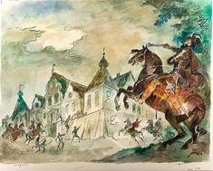 Jan Marcin Szancer - Oblężenie dworu w Sośnicy Over The Garden Wall, Children's Book Illustration, Childrens Books, Illustrators, Watercolor, Ink, Inspiration, Art Ideas, Polish
