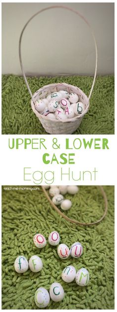 Upper and lower case egg hunt, fun learning ideas for Easter! Easter Activities For Kids, Kids Learning Activities, Alphabet Activities, Fun Learning, Teaching Ideas, Kindergarten Literacy, Early Literacy, Abc Preschool, Teaching The Alphabet