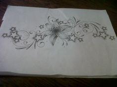 Lily Tattoo Design With Swirls And Stars