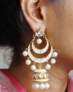 Drop Chand Bali Earrings whitegoldMAE368e