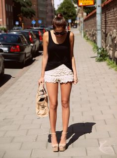 white crochet shorts, black top. I actually already own and have worn these pieces together already!
