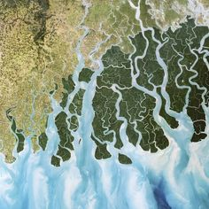 A delta in the Ganges, Bangladesh satellite image. Africa Nature, Framed Prints, Canvas Prints, Science Photos, Patterns In Nature, Birds Eye View, Aerial Photography, Aerial View, Poster Size Prints