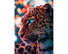 5D DIY Full Drill Square Round Diamond Painting Kit,Animal Leopard Big Cat Cross Stitch,Diamond Embr