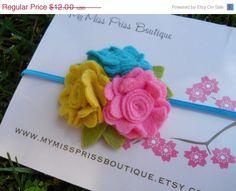 felt flower headband in yellow Robbin blue di Mymissprissboutique