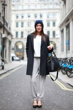 Zara top, Cos beanie, Uniqlo coat, and Topshop pants and bag