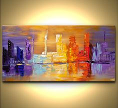 ORIGINAL Abstract City Painting Modern 48 x 24 by OsnatFineArt