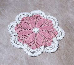 Cottage Chic Pink Daisy Doily Crochet Lace Home by NutmegCottage, $16.00