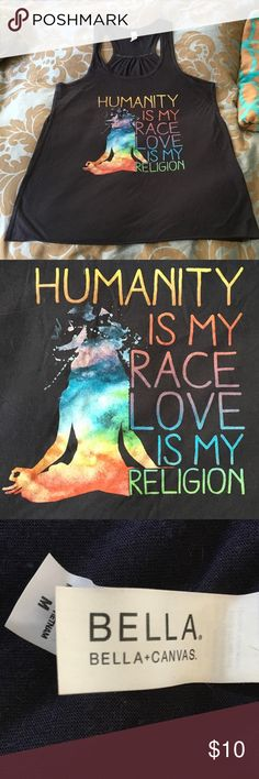 """Size medium Love is my religion tank """"I don't condemn I don't convert. This is the calling have you heard? Bring all the lovers to the fold. No one is going to lose their soul. Love is my religion."""" -Ziggy Marley bella Tops Tank Tops"""