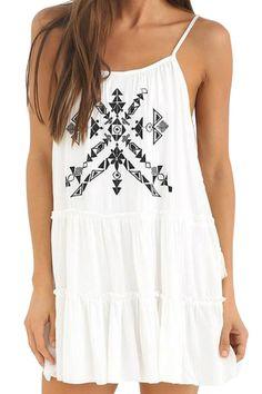 White Spaghetti Strap Tribal Dress