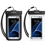 """Universal Waterproof Case, MoKo [2-Pack] Cellphone Dry Bag with Armband Neck Strap for iPhone 7, 7 Plus, 6s, 6, 5s, Note5, S7 Edge, Pixel, Pixel XL, BLU Huawei & Other Devices up to 6"""", BLACK + WHITE"""