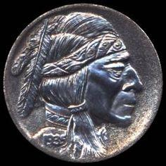 Steve Ellsworth Indian Theme, Hobo Nickel, Coin Art, Old Coins, Buffalo, Water Buffalo