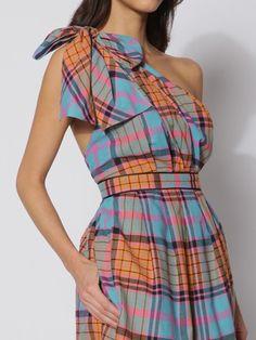 thread social cotton madras one shoulder dress (close-up)