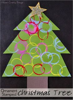 Ornament Stamped Christmas Tree Craft | I Heart Crafty Things