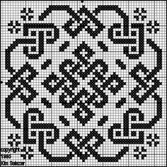 Biscornu celtic pattern Cross stitch, beads, filet crochet, lots of options Biscornu Cross Stitch, Celtic Cross Stitch, Cross Stitch Charts, Cross Stitch Designs, Cross Stitch Embroidery, Cross Stitch Patterns, Embroidery Patterns, Blackwork, Bead Weaving