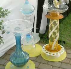 It is so easy to make your own glass totem bird baths. Recycling and repurposing glass ware thrift finds such as bowls, plates, vases, candy dishes, bottles, etc., make wonderful bird baths...