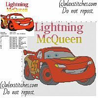 Lightning McQueen from Disney cartoon Cars and Cars 2 free cross stitch pattern big size about 150 x 150