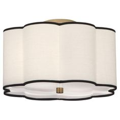 Available in an aged Brass Finish with  Scalloped Fondine Fabric Shade or Blackened Antique Nickel with Ascot White Shade.  $264.00