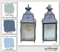 Colorways with Leslie Stocker » Paint a Patina. RailroadLanterns from 1st Dibs provide inspiration for ASCP patina. Paris Grey, Old Violet, Louis Blue