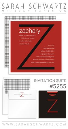 An initial Bar Mitzvah invitation suite in red with a gingham pattern