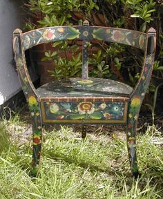 19th Century Norwegian antique Rosemaled chair.