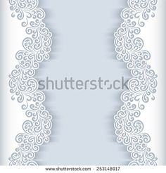 Vector lace background with cutout lacy border ornament elegant white vector background with floral cutout paper swirls greeting card or wedding invitation template stopboris Images