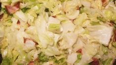 Southern Fried Cabbage Recipe This dish was always a favorite at Mammaw's house. Cabbage is fried with onion and bacon in this simple quick side dish. Terrific with cornbread. Southern Fried Cabbage, Bacon Fried Cabbage, Baked Cabbage, Easy Cabbage Recipes, Fun Easy Recipes, Delicious Recipes, Garlic Recipes, Onion Recipes, Southern Side Dishes