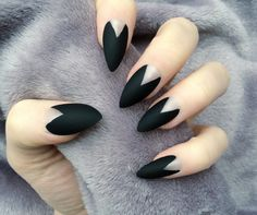 Deep Mani Matte Black Stiletto