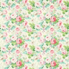 Chelsea Fabric The ultimate rose bouquet in pink and pale green shades on a off-white background. Works wonderfully in all rooms of the house.