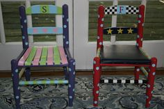 Painted children's chairs