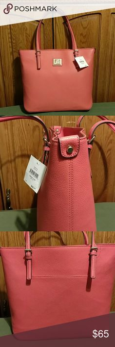 """Anne Klein Perfect Tote- Large Supple, faux leather with elegant but sturdy handles. The fully lined interior has a central zip compartment, zip pocket and 2 open pockets. 26"""" wide x 13"""" high x 6"""" deep. Double strap drop is 9"""". Magnetic snap closure. AK logo plaque. Color is coral. Stunning! Anne Klein Bags Totes"""