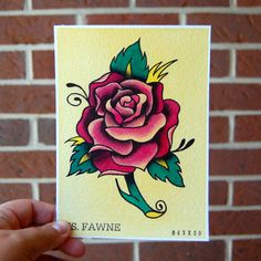 5 x7 Watercolor Painting Tattoo Flash - Rose.