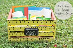 first day of school teacher gift | lot of fun making this Teachers Crate for the First Day of School ...