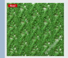 узор 375 маленькие листочки| каталог вязаных спицами узоров