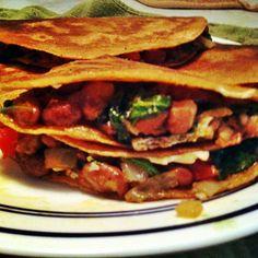 Vegan Pinto Bean & Spinach Quesadillas