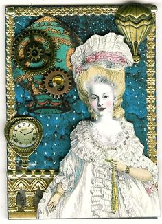 http://nostalgiccollage.blogspot.com/  Blue Steampunk Marie ATC