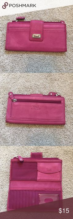Fossil slim wallet This pink Fossil wallet is chock full of coin pouches and card slots. Gently used. Fossil Bags Wallets