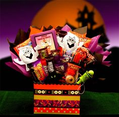Boo Mania Halloween Bouquet Price: US$49.99 Make their Halloween scary story telling time even more indulgent with this awesome Halloween bouquet stuffed full of treats for every little goblin to enjoy!