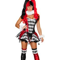 halloween costumes gotham girls harley quinn jester harlequin adult womens halloween costume xs m buy it now only 4121 on ebay - Halloween Costumes Harlequin