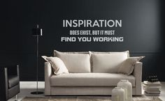 Motivational Vinyl Decal - Inspiration does exist but it must find you working | Many colors | Artistic mural collection for wall decor by BrutalVisual