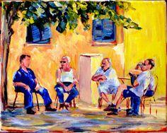 "My Mom's latest painting ""Old Men Alfresco"" 8x 10 Original Acrylic on by CapturedOnCanvas, $65.00"
