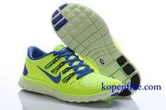 Goedkoop Schoenen Nike Free 5.0 + Dames (kleur:vamp-geel;zool-wit;binnen&logo-blauw) Online Winkel.