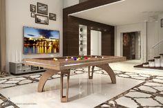 Modello P40 con rivestimenti in cuoio cucito, e che si trasforma in comodo tavolo. http://www.biliardietrusco.com/prodotti/modello-p40-in-cuoio-cucito/