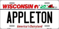 Appleton Wisconsin Background Novelty Metal License Plate