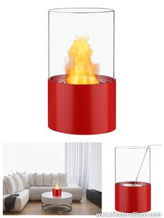 For small rooms and compact spaces, you can't beat the functional beauty of this Cirum Red Tabletop Ventless Ethanol Fireplace.
