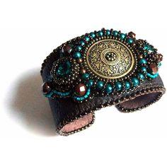 Teal leather cuff bracelet, vintage brass, Swarovski crystal, bead... ($125) ❤ liked on Polyvore