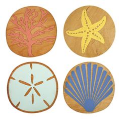 Accent your tabletop with our beachy Sea Life Coasters. Perfect for your seaside home. Made with love from our studio in Westbrook, Maine. Wood Ornaments, Holiday Ornaments, Ski Decor, Bar Coasters, Host Gifts, Handmade Tiles, Star Ornament, Party Gifts, Projects To Try