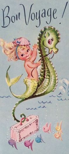 UNUSED Adorable Mermaid Seahorse Pink Suitcase Vintage Bon Voyage Greeting Card in Collectibles, Paper, Vintage Greeting Cards, Unused Vintage Vintage Greeting Cards, Vintage Postcards, Vintage Pictures, Vintage Images, Pink Suitcase, Mermaid Fairy, Baby Mermaid, Vintage Mermaid, Mermaids And Mermen
