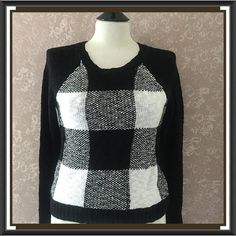 NEW Bold Check Black White Pullover Sweater S New Checkered Pullover Sweater Long Sleeve Black White Small S perfect for your fall wardrobe! Cotton Blend NWT by SO Authentic American Heritage NWT  Trades American Heritage Sweaters Crew & Scoop Necks