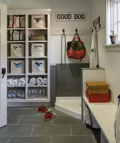 dog bath in mudroom
